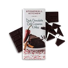 Dark Chocolate Chili Cinnamon & Nibs Bar - This unique combination on ingredients packs a big kick of flavor! It begins with rich Belgian dark chocolate mixed with cinnamon and roasted cacao nibs and then accented with spicy hot chili pepper. Together, they create a deliciously zesty taste sensation that's perfect for those who like both sweet and spicy together.