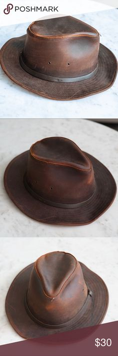 0aebca7140e Henschel Hat Co. Leather Safari Hat Beautiful leather hat. Has a small  stain that
