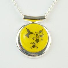 Yellow Hummingbird jewelry bird flower glass by ArtfulExcursions, $32.95