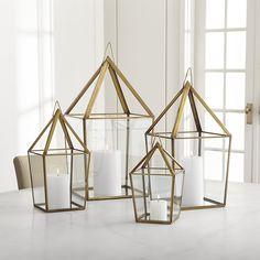 Lillian Brass Metal Lantern | Crate and Barrel