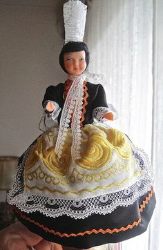 Bigoudene French Costume celluloid doll from by MamzelleVintage