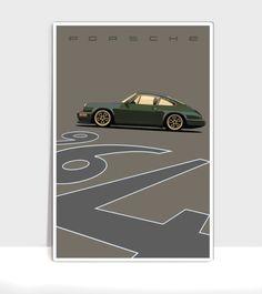 Olive Green Porsche 964 Outlaw.gif