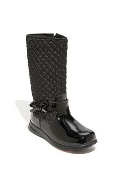 d ensures all-day comfort in a glossy patent leather boot styled with a quilted fabric shaft and trimmed with a sweet bow at the ankle.  Side zip closure.Patent leather and textile upper/leather lining/rubber sole.By pediped™; imported.Kids' Shoes.