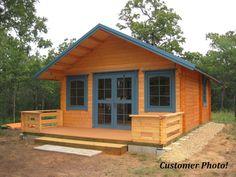 Log Cabin Kit, 292 SQF+ Loft, 3 Rooms+Loft, Free Terrace and Shipping ! Tiny Cabins, Tiny House Cabin, Log Cabin Homes, Tiny House Living, Tiny House Design, Small House Plans, Small Log Cabin Plans, Small House Kits, Amish Cabins