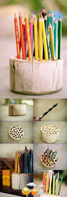 log pen and pencil holder