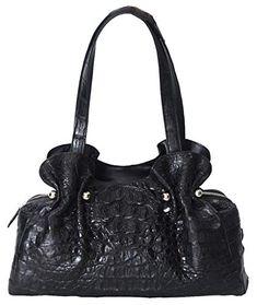 Authentic M Crocodile Skin Womens Hornback Bag Hobo Purse Handbag (Black)