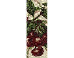 Cherries Peyote Bead Pattern, Bracelet Cuff, Bookmark, Seed Beading Pattern Miyuki Delica Size 11 Beads - PDF Instant Download
