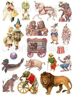 Digital Collage Sheet Circus Animals Clowns Mixed Media Altered Art ACEO ATC