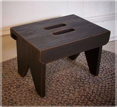 Farmhouse Primitive Step Stool Cut Out Handles Shaker Style / Lamp Black / Color…