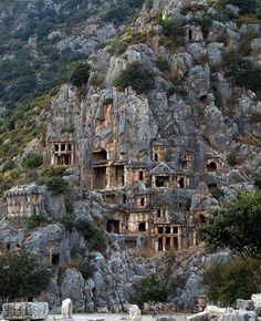 Ancient Lycian Myra rock-cut tombs, 5th century BC