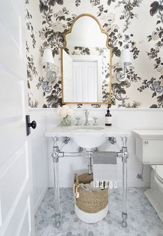 Powder Room With RH Glass Console Sink, Schumacher Pyne Hollyhock Wallpaper,  White Subway Tile, Hex Marble Flooring U0026 Traditional Styling.