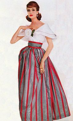 1960s striped skirt and rose detail white top