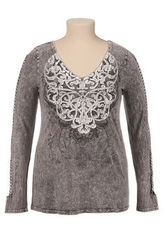 Maurices Premium Embellished Braided Sleeve Tee (original price, $42) available at #Maurices