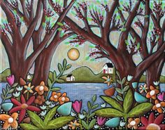 Lake Cottages 14x11 inch ORIGINAL Canvas PAINTING Abstract FOLK ART PRIM Karla G