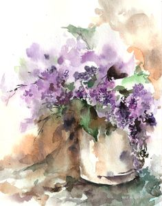 Watercolor Painting Art Print of Lilac Flowers от CanotStopPrints