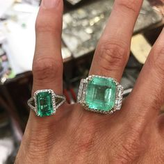 The ring on left is solid 18K 8+ carats of fine emerald and diamond. The ring on the right is platinum and 18K totaling 30+ carats with emerald and diamonds. Pieces hand made by our jeweler Robison  #emeralds #emerald #EmeraldJewels #EmeraldCut #emeraldjewelry #emeraldgreen #emeraldring #engagementring #engagementrings #weddingrings #MuzoEmerald #DarkEmerald #InvestmentEmerald #ColombianEmeralds #colombianemerald #diamondengagementring