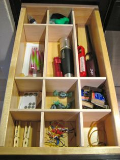 DIY:  Make your own custom drawer organizers using balsa wood you can get at the craft store. Very easy to cut.