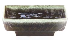 "Hull Mid C. Dark Green Tropical Pattern 10.5 X 5.25"" Console Planter"