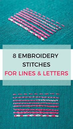 embroidery stitches for lines and letters