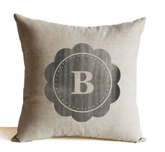 Monogram Throw Pillow Cover Personalized Grey Linen by AmoreBeaute