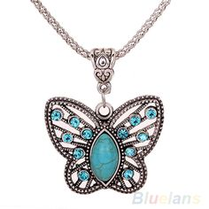 Retro  Butterfly Hollow Crystal Inlay Pendant Tibetan Silver Necklace  9PR7 #Affiliate