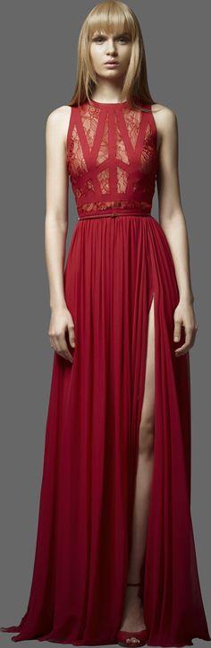 #ELIE SAAB - Ready-to-Wear - PreFall 2012 #Trend Transparent Fabrics #Red