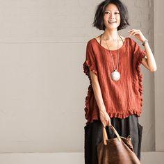 Art Loose Linen T-shirt Women Tops C1550A