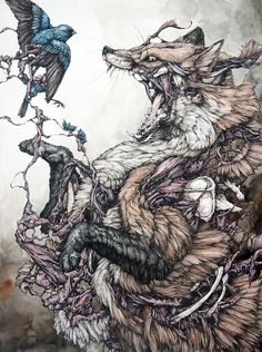 The red fox and the bird / Lauren Marx - This would make an epic tattoo!