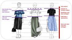 Der Outfit-Vergleich zeigt deutlich, wie sich vertikale und horizontale Proportionen zunehmend verbessern.