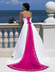 white and pink wedding dresses