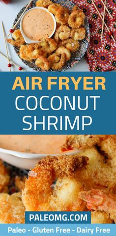 Air Fryer Coconut Shrimp with Sriracha Dipping Sauce - PaleOMG Paleo Coconut Shrimp, Paleo Recipes, Gourmet Recipes, Food Trends, Air Fryer Recipes, Dairy Free, Gluten Free, Healthy Eating, Healthy Meals
