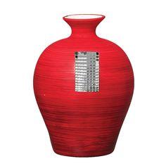 Vaso Cerâmico Texturizado Grande vermelho. Você que busca inovar seu plano de decoração, vai adorar este lindo vaso com detalhes em vidro espelhado.
