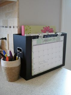 Home Organisation: Kitchen Command Center + Meal Planning Organisers. Could use for post etc. Organisation Hacks, Kitchen Organization, Storage Organization, Organizing Tips, Organising, Kitchen Storage, Paperwork Organization, Organizing Paperwork, Office Organization At Work