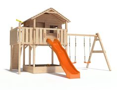 XL-Baumhaus COLINO von Oskar Spielturm mit Schaukelanbau, XXL- Rutsche, Basketballkorb, Sandkasten, Balkon und Kletterrampe auf 1,50 Meter Podesthöhe (2017) (blau) (Blau)