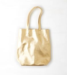 Gold BAGGU Leather Basic Tote