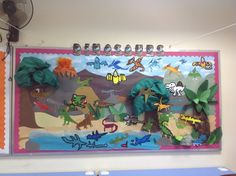 This section includes fun animals bulletin board, color posters. Visit Bulletin board, for additional resources. Dinosaur Bulletin Boards, Dinosaur Classroom, Classroom Displays Ks1, School Displays, Interactive Activities, Activities For Kids, Year 3 Classroom Ideas, Nursery Display Boards, Dinosaur Display