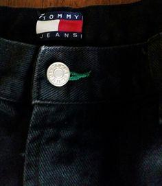 EUC VTG TOMMY Hilfiger BLACK Jeans 36 29 VINTAGE Logo PATCH OG 90'S RETRO DENIM #TommyHilfiger #BaggyLoose