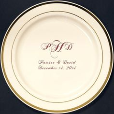 7 In. Custom Printed Reusable Gold Trim Plastic Plates  sc 1 st  Pinterest & 200 Personalized 9\