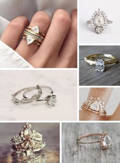 Stacked, Vintage, Nature Inspired. What's not to love! Top Favorite Boho Bride Wedding Rings: http://www.beaconln.com/blog/top-engagement-ring-trends-for-2016/