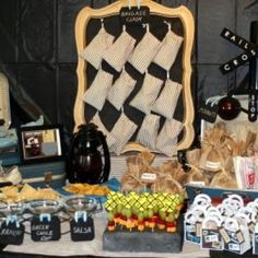 Vintage Train Party  -  Love the signs on the fruit sticks.  Also the color scheme or black and white and blue.