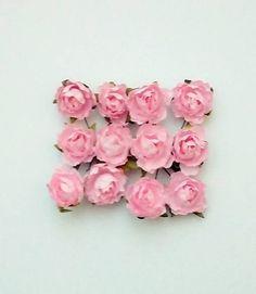 natvorenie / papierové kvety ružové 12 ks