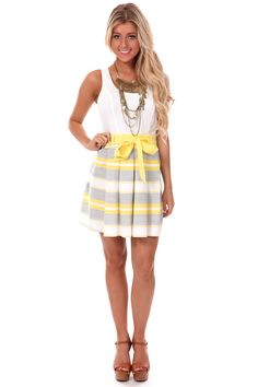 Lime Lush Boutique - Yellow and White Bow Waist Tank Dress, $48.99 (http://www.limelush.com/yellow-and-white-bow-waist-tank-dress/)