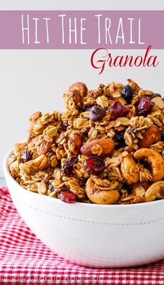 """Hit The Trail Granola.Sweet, simple, healthy, wholesome, feel-good """"hit the trail"""" granola. This crunchy trail mix granola is simple to make and has so much flavor and texture! Clean Eating Snacks, Healthy Snacks, Healthy Eating, Healthy Recipes, Nutritious Meals, Breakfast Recipes, Snack Recipes, Cooking Recipes, Cooking Tips"""