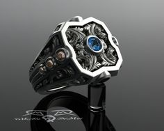 Cognac Diamond and London Blue Topaz. Black diamond mens sterling silver scroll work fashion ring. Customizable mens ring Gothic scrollwork