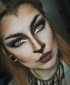 Looking for for inspiration for your Halloween make-up? Navigate here for perfect Halloween makeup looks. : Looking for for inspiration for your Halloween make-up? Navigate here for perfect Halloween makeup looks. Halloween Zombie Makeup, Chat Halloween, Halloween Inspo, Halloween Looks, Rabbit Halloween, Halloween Images, Wolf Make Up Halloween, Wolf Halloween Costume, Pretty Halloween Makeup
