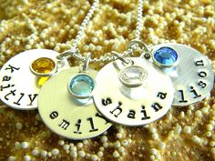 simple single circle necklace with name or word and Swarovski birthstone - {simple starfish} jewelry