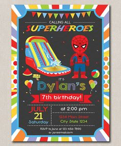 Spiderman Water slide Invitation Waterslide by PixeleenDesigns