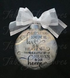 This Heaven Christmas glass floating ornament makes a great WOW gift, and a great way to honor a loved one. The words appear to float inside