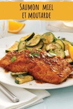 Les amateurs de poisson se régaleront avec cette recette de saumon simple et rapide glacée au miel et à la moutarde tout simplement parfaite pour recevoir. Healthy Food, Healthy Recipes, Nutrition, Honey, Seafood, Meat, Cooking Recipes, Roast Zucchini, Chef Kitchen