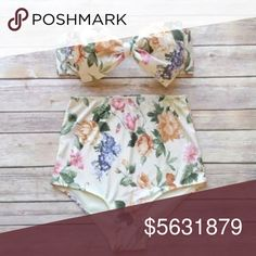 COMING SOON Floral Bow Bikini Adorable highwaisted bottoms and push up bow bikini top. Ivory cream colored background with a lovely vintage floral pattern.  M - Bust: 37.5-39 in     Waist: 31-33 in     Hips: 39-41 in   L   - Bust: 39-41 in     Waist: 33-34.5 in     Hips: 41-42.5 in   XL- Bust: 41-42.5 in     Waist: 34.5-36 in     Hips: 42.5-44 in    Let me know if you are interested in a different size. Swim Bikinis
